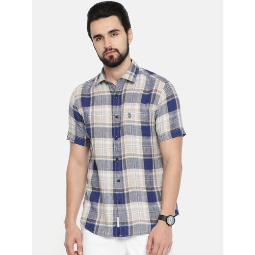 U.S. Polo Assn. Men Navy Blue & Beige Tailored Fit Checked Casual Irish Linen Shirt