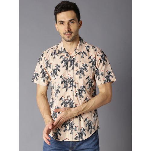 Bene Kleed Men Peach-Coloured & Grey Slim Fit Printed Casual Shirt