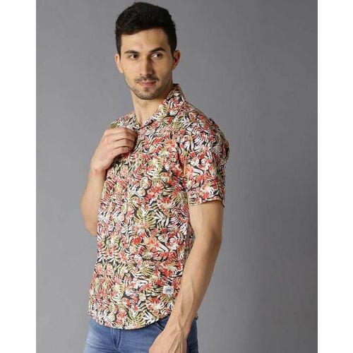Bene Kleed Men Beige & Pink Slim Fit Printed Casual Shirt
