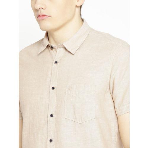 Pepe Jeans Men Beige Regular Fit Solid Casual Shirt