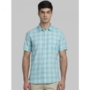 Parx Men Sea Green Slim Fit Checked Casual Shirt