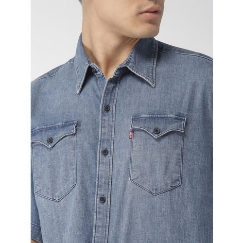 Levis Men Blue Slim Fit Solid Casual Denim Shirt
