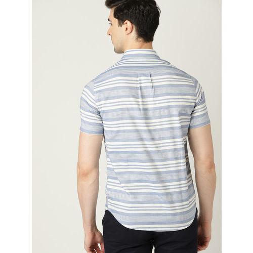 United Colors of Benetton Men Blue & Off-White Slim Fit Striped Casual Shirt
