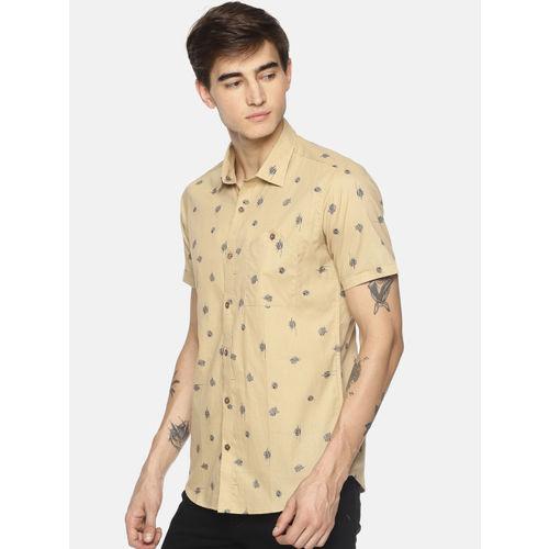 COUPER & COLL Men Beige & Blue Slim Fit Printed Casual Shirt