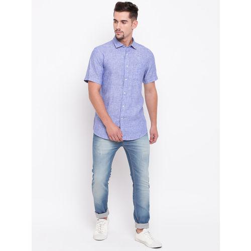 Blackberrys Men Blue Regular Fit Solid Linen Casual Shirt