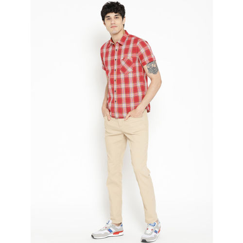 Pepe Jeans Men Red & Blue Regular Fit Checked Casual Shirt