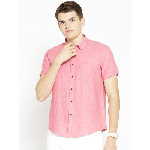 Pepe Jeans Men Pink Regular Fit Solid Casual Shirt
