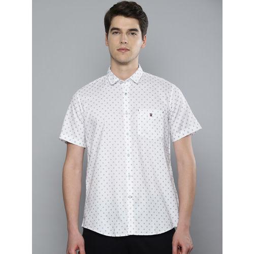 Louis Philippe Sport Men White & Black Slim Fit Printed Casual Shirt