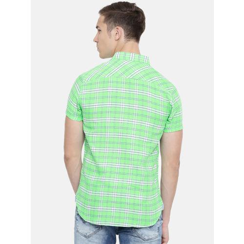 SPYKAR Men Green & Blue Regular Fit Checked Casual Shirt