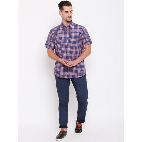 Blackberrys Men Blue & Pink Smart Regular Fit Checked Formal Shirt