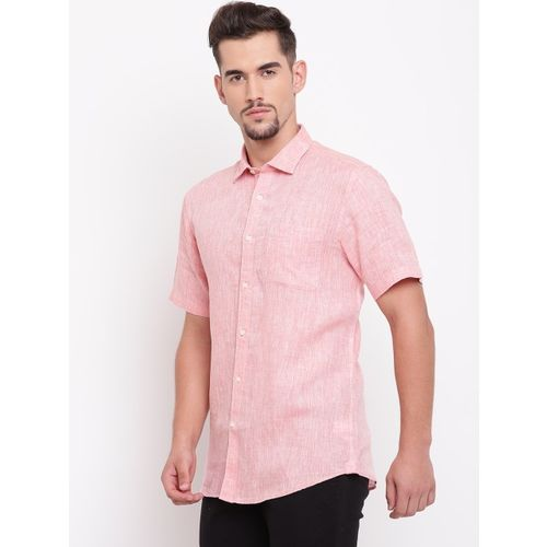 Blackberrys Men Peach-Coloured Slim Fit Solid Linen Casual Shirt