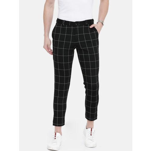 Jack & Jones Men Black & Off-White Slim Fit Checked Cropped Regular Trousers