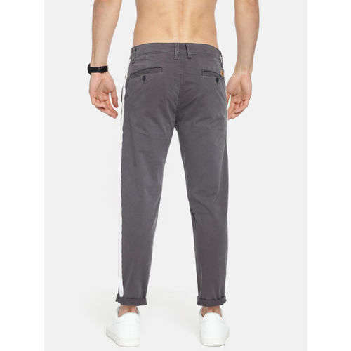 HERE&NOW Men Grey Slim Fit Solid Regular Trousers