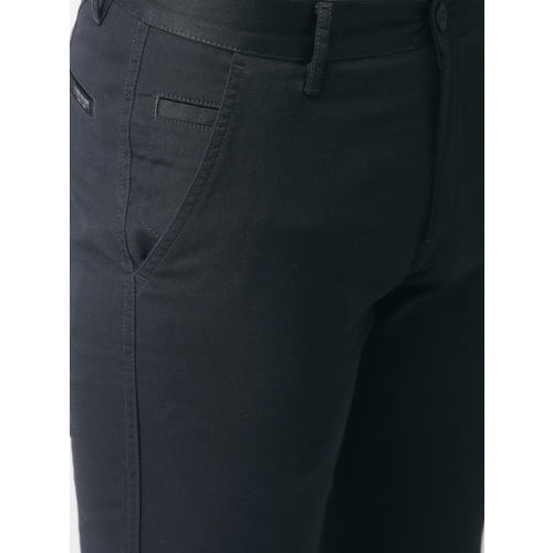Flying Machine Men Navy Blue Slim Fit Solid Regular Trousers