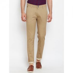 Crimsoune Club Men Beige Slim Fit Checked Regular Trousers