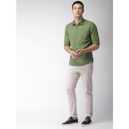 Flying Machine Men Grey Slim Fit Solid Regular Trousers