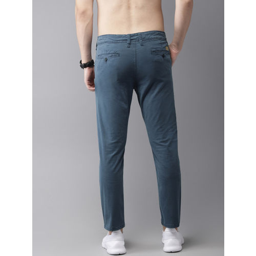 HERE&NOW Men Grey with a tinge of Blue Slim Fit Solid Chinos