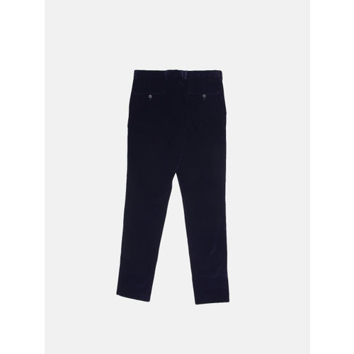 United Colors of Benetton Men Navy Blue Slim Fit Solid Regular Velvet Trousers
