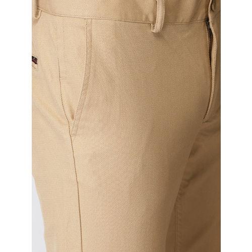 Indian Terrain Men Beige Brooklyn Slim Fit Solid Smart Casual Trousers