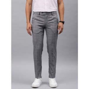 Peter England Casuals Men Grey Neo Slim Fit Checked Smart Casual Regular Trousers
