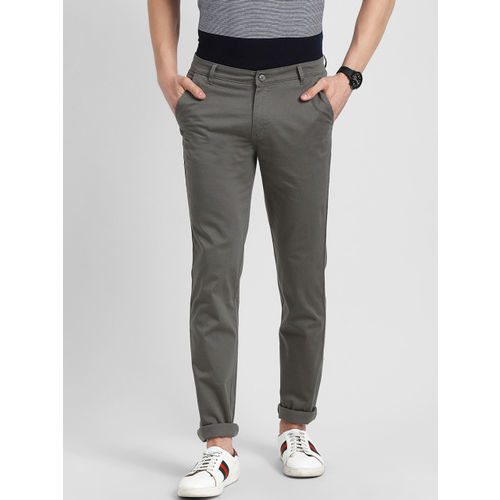 COBB Men Grey Slim Fit Self Design Regular Trousers