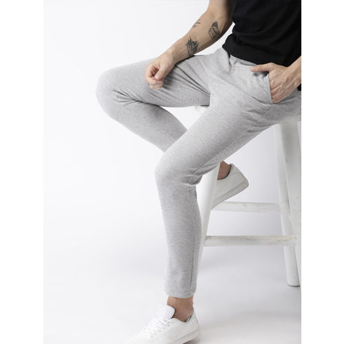 Mast & Harbour Men Grey Melange Slim Fit Knitted Regular Trousers