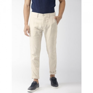 f1e0aa283a8 Buy John Players Men Cream-Coloured Skinny Fit Solid Casual Trousers ...