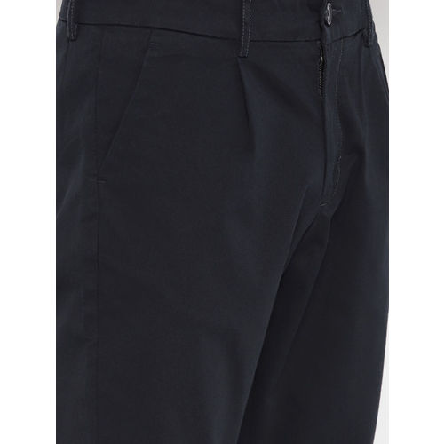 ONLY & SONS Men Navy Blue Regular Fit Solid Cropped Chinos