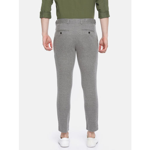 Jack & Jones Men Grey Slim Fit Self Design Regular Trousers