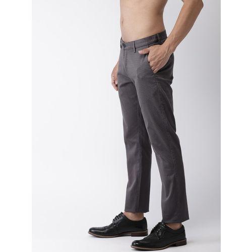 Flying Machine Men Black Slim Fit Printed Regular Trousers