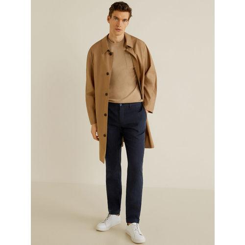 MANGO MAN Men Navy Blue Slim Fit Self-Striped Regular Trousers
