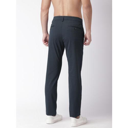Flying Machine Men Navy Slim Fit Printed Regular Trousers