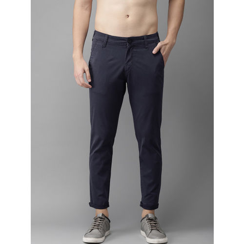 HERE&NOW Men Navy Slim Fit Solid Chinos