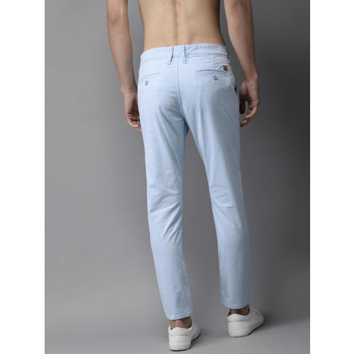 HERE&NOW Men Blue Slim Fit Solid Chinos