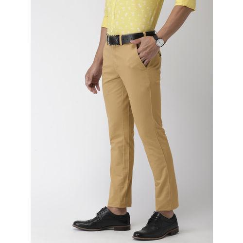 Park Avenue Men Khaki Regular Fit Solid Cropped Chinos