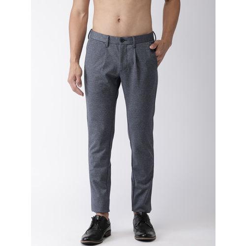 Flying Machine Men Navy Blue Super Slim Fit Solid Regular Trousers