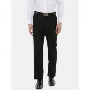 Park Avenue Men Charcoal Grey Solid Formal Trousers