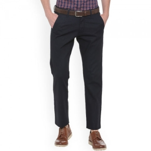 Allen Solly Navy Blue Slim Fit Self Design Formal Trousers