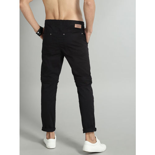 Roadster Men Black Solid Convertible Chinos