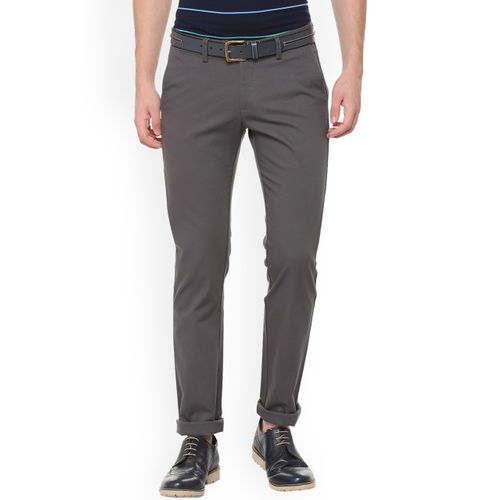 Allen Solly Men Grey Slim Fit Self Design Regular Trousers