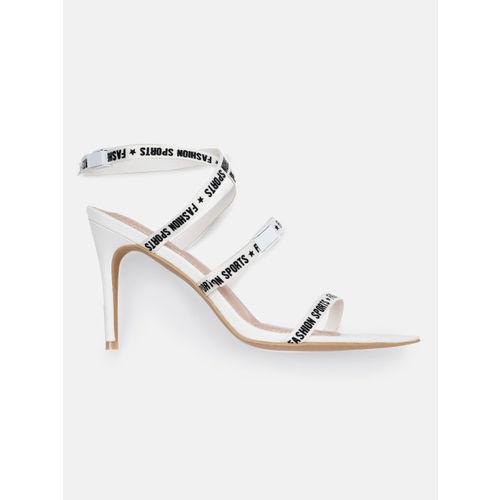 DressBerry Women White & Black Printed Stilettos