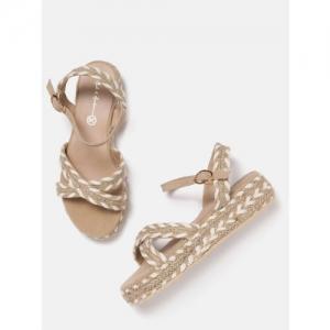 Mast & Harbour Women Beige & Off-White Woven Design Flatform Heels