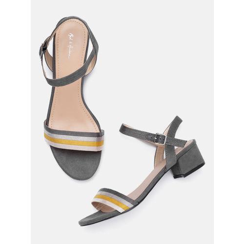Mast & Harbour Women Grey & Yellow Striped Sandals