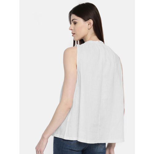United Colors of Benetton Women White Solid Linen Regular Top