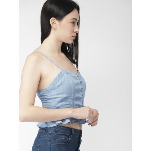 FOREVER 21 Women Blue Solid Cinched Waist Top