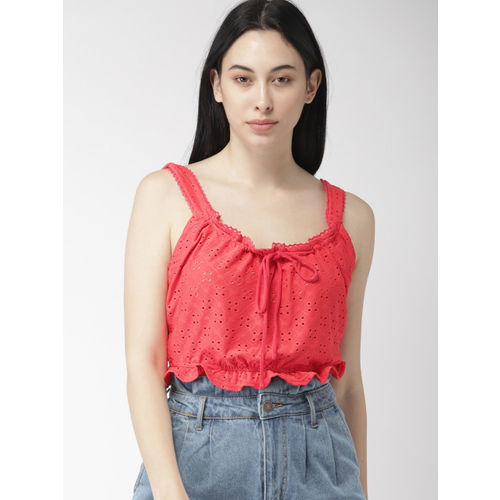 FOREVER 21 Women Red Self Design Blouson Top