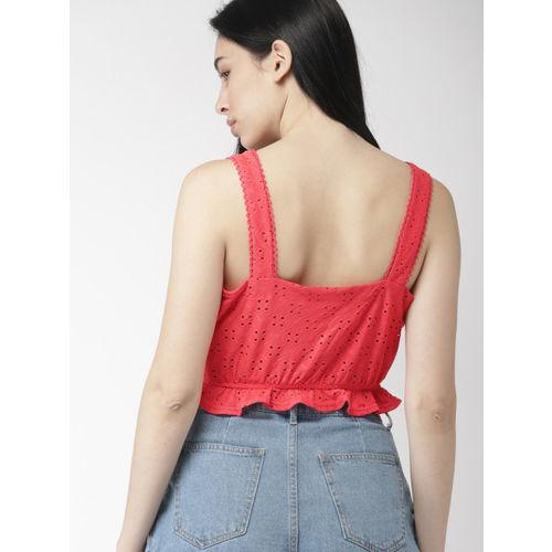 FOREVER 21 Women Red Self Design Blouson Top