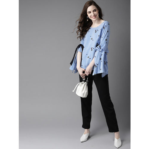 HERE&NOW Women Blue & White Striped Top