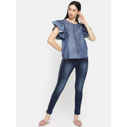 Pepe Jeans Women Navy Blue Solid Chambray Shirt Style Top