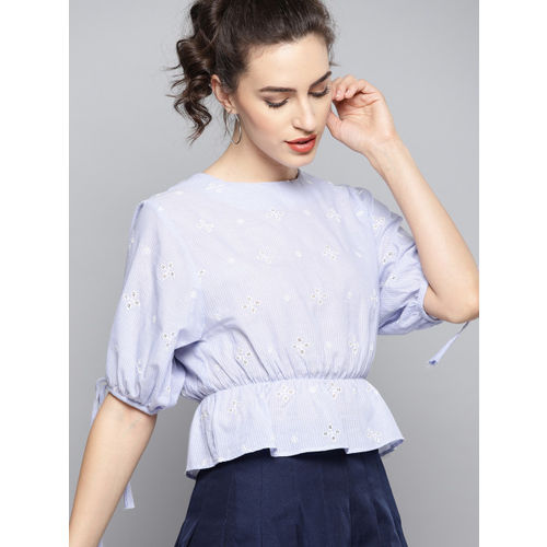 Carlton London Women Blue & White Embroidered Cinched Waist Top